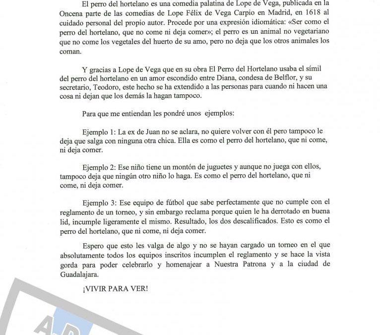 Suspendida Final Trofeo Ferias Y Fiestas Virgen de la Antigua 2018 entre los equipos :Hogar Alcarreño y Dinamo Guadalajara-