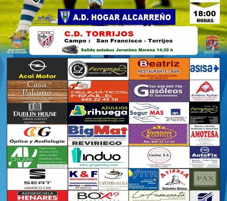 TORRIJOS-HOGAR ALCARREÑO, EL DOMINGO A LAS 1800