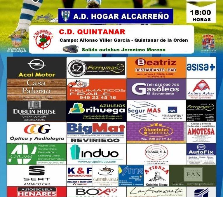 Quintanar – Hogar Alcarreño el domingo a las 18:00h