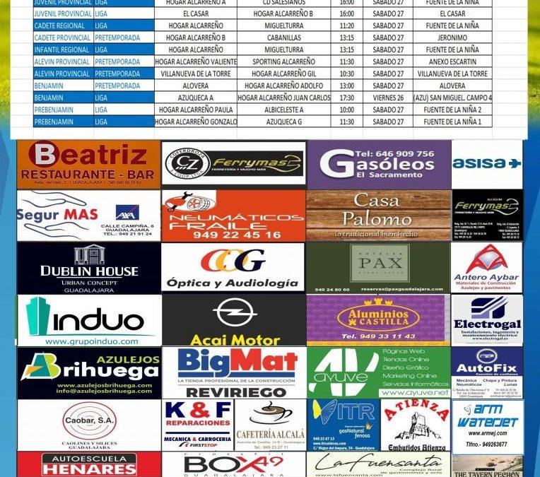 Horarios partidos próxima jornada 26-27-28 Octubre de la A.D. Hogar Alcarreño. GRUAS FRAILE.