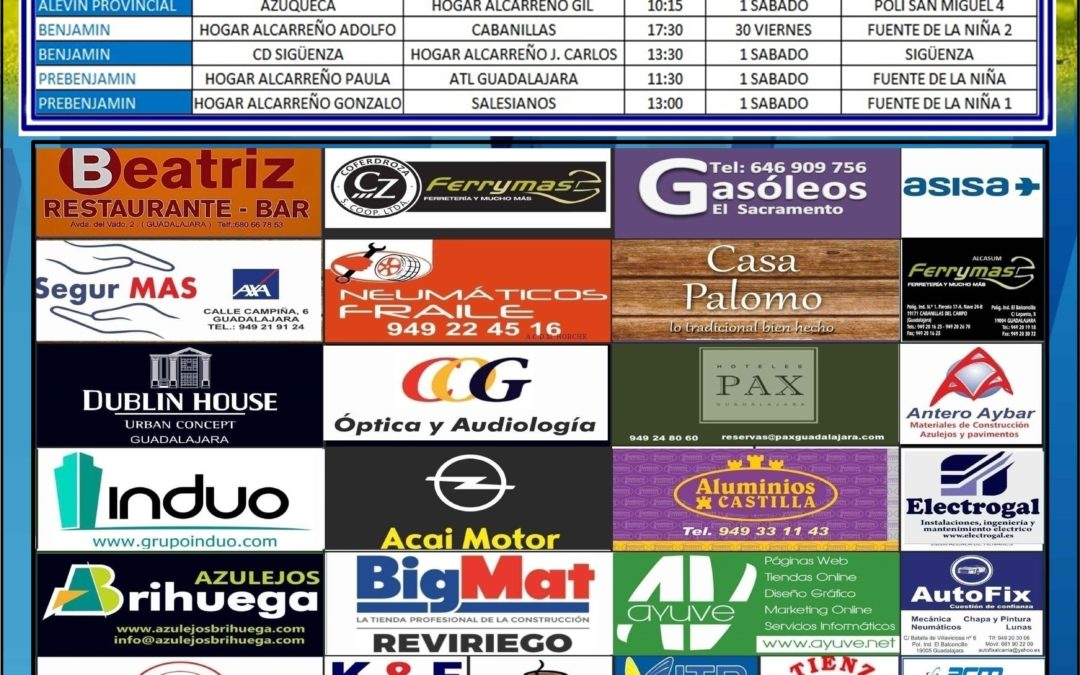 Horarios partidos jornada : dias 1 – 2 Diciembre 2018 de la A.D. Hogar Alcarreño. BAR RESTAURANTE BEATRIZ