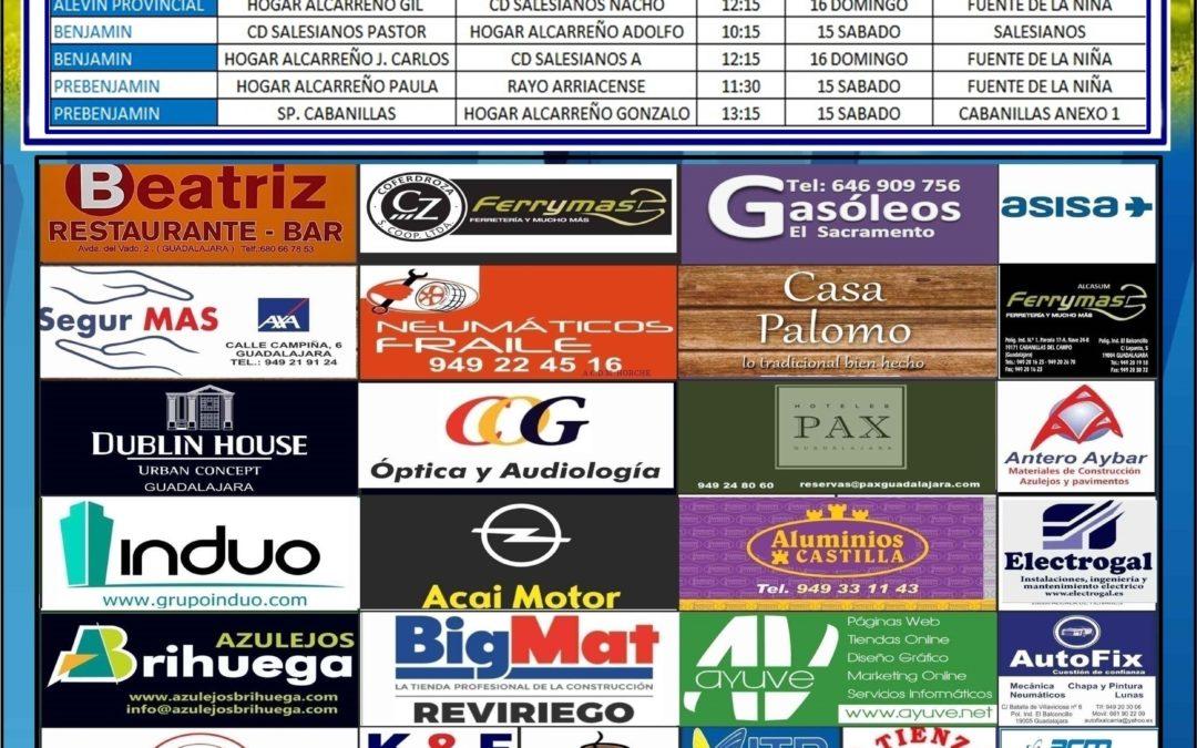 Horarios partidos jornada 15 -16 Diciembre de la A.D. Hogar Alcarreño. SEAT AMARCOCAR