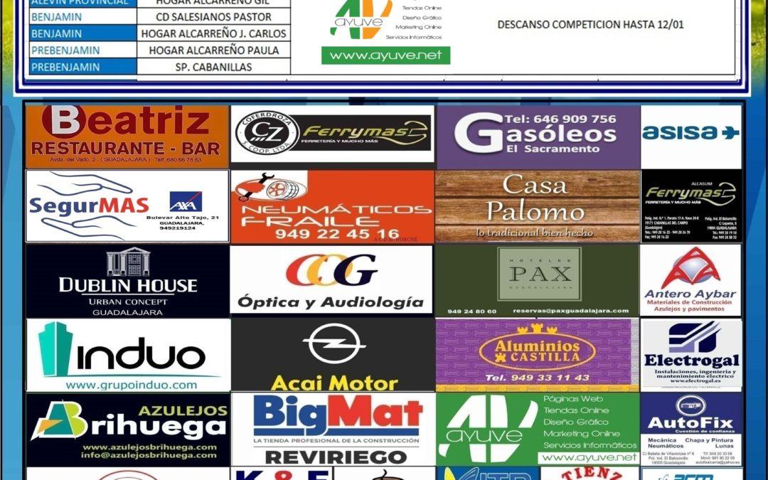 Horarios jornada 22 -23 Diciembre de la A.D. Hogar Alcarreño.
