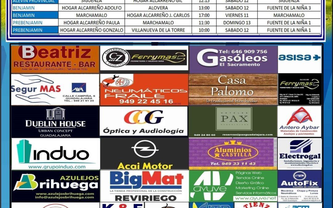 HORARIOS PARTIDOS JORNADA 12 -13 Enero de la A.D. Hogar Alcarreño. SEAT AMARCOCAR