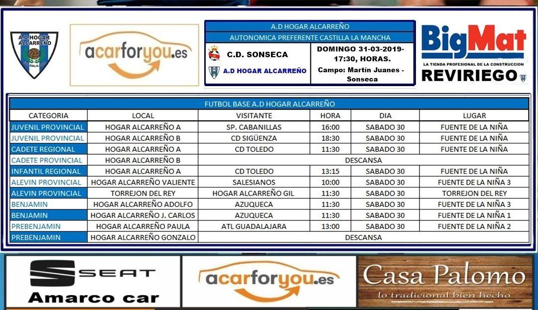 HORARIO PARTIDOS JORNADA 30-31 – MARZO 2019 DE LA A.D. HOGAR ALCARREÑO.