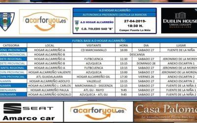 HORARIO PARTIDOS JORNADA 27-28 ABRIL 2019 DE LA A.D. HOGAR ALCARREÑO.  DUBLIN HOUSE