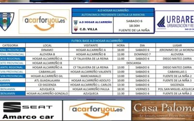 HORARIO PARTIDOS JORNADA 6-7 ABRIL 2019 DE LA A.D. HOGAR ALCARREÑO.  URBARED.