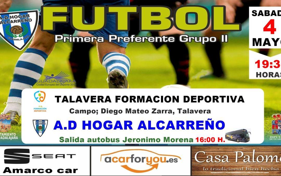 F.D. TALAVERA-HOGAR ALCARREÑO,  DOMINGO A LAS 19'30 HORAS