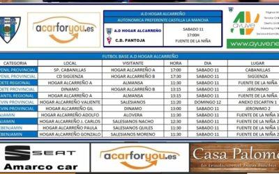 HORARIO PARTIDOS JORNADA 11-12 MAYO 2019 DE LA A.D. HOGAR ALCARREÑO.  AYUVE.