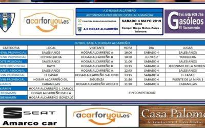 HORARIO PARTIDOS JORNADA 4-5 MAYO 2019 DE LA A.D. HOGAR ALCARREÑO.  GASOLEOS EL SACRAMENTO.
