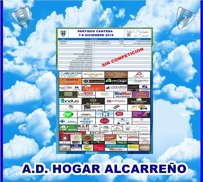 RESULTADOS CANTERA-7-8-DICIEMBRE-2019-HOGAR-ALCARREÑO. EL BODEGON DE SANCHO