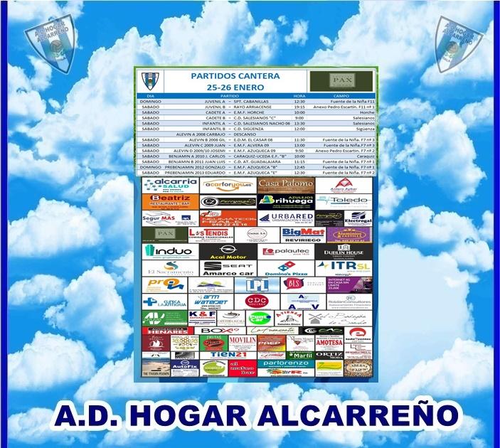 PARTIDOS CANTERA 25-26 ENERO 2020 -HOGAR ALCARREÑO . HOTEL PAX.