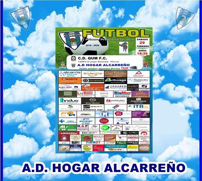 C.D QUM- HOGAR ALCARREÑO .SABADO 29 FEBRERO 2020 18;30 H .PALAUTEC CERAMICAS.