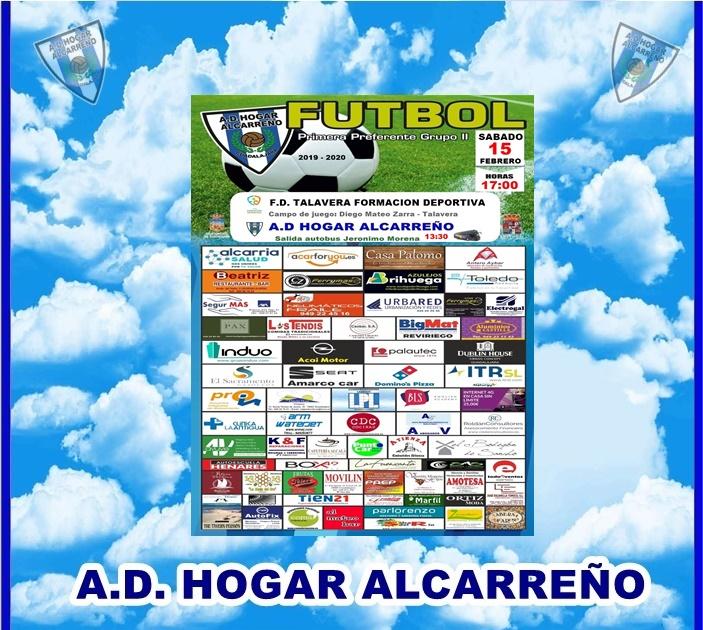 TALAVERA FORMACION – HOGAR ALCARREÑO. SABADO 15 A LAS 17;00 H . AZULEJOS BRIHUEGA