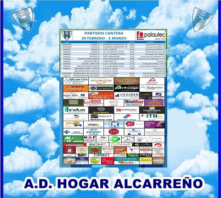 PARTIDOS CANTERA 29 FEBRERO y 1 MARZO 2020 -HOGAR ALCARREÑO .PALAUTEC CERAMICAS