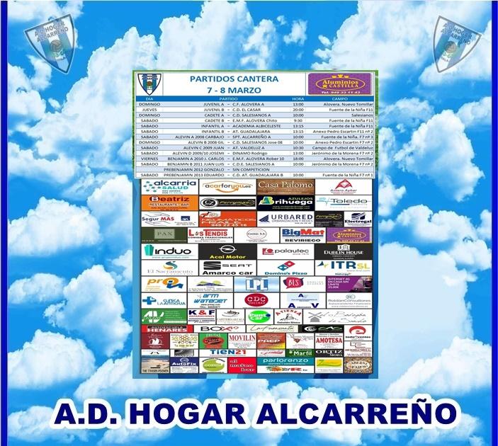 PARTIDOS CANTERA 7-8 MARZO  2020 -HOGAR ALCARREÑO  . ALUMINIOS CASTILLA