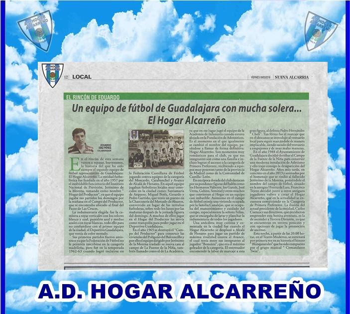 Reportaje en prensa por Eduardo Diaz Perez en Nueva Alcarria 09/03/2018