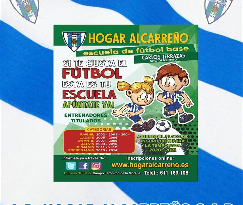 ABIERTO EL PLAZO DE INSCRIPCIÓN DE LAS ESCUELAS DE FÚTBOL DEL A.D. HOGAR ALCARREÑO S.A.D., 2020-2021