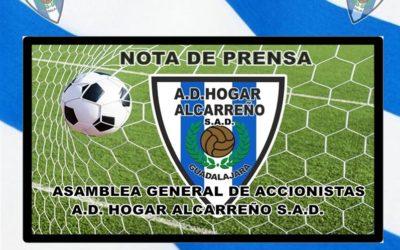 ASAMBLEA GENERAL DE ACCIONISTAS A.D. HOGAR ALCARREÑO S.A.D.