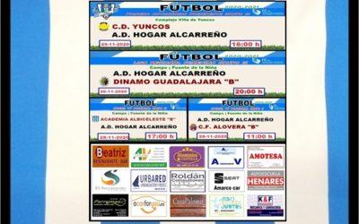 PEÑA HOGAR ALCARREÑO HORARIOS JORNADA 28-29 NOVIEMBRE 2020