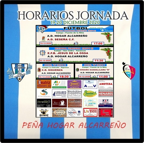HORARIOS JORNADA 19-20 DICIEMBRE 2020 .PEÑA HOGAR ALCARREÑO. MECANICA K&F