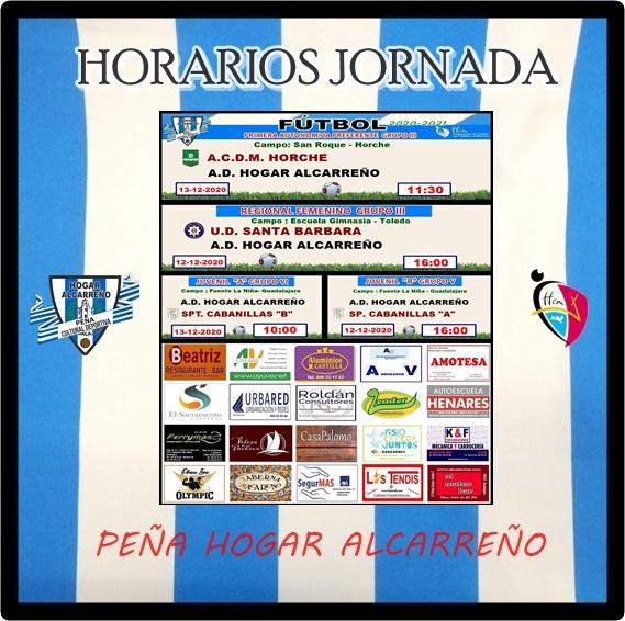 HORARIOS JORNADA 12-13 DICIEMBRE 2020 .PEÑA HOGAR ALCARREÑO. .ROLDAN CONSULTORES.