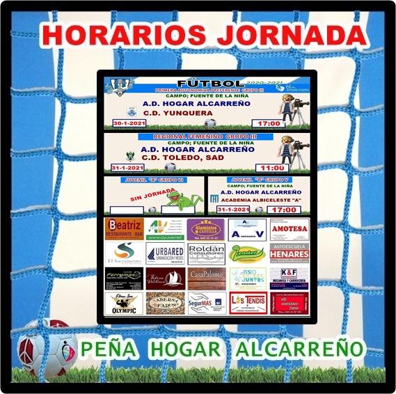 HORARIOS JORNADA 30-31 ENERO 2021 , PEÑA HOGAR ALCARREÑO. ALUMINIOS CASTILLA.