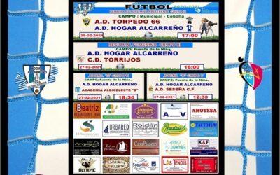 HORARIOS JORNADA 27-28 FEBRERO 2021 .PEÑA  HOGAR ALCARREÑO. LOS TENDIS.