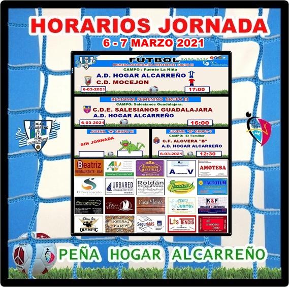 HORARIOS JORNADA 6-7 MARZO 2021 .PEÑA HOGAR ALCARREÑO. FACTOTUM SOLAR.