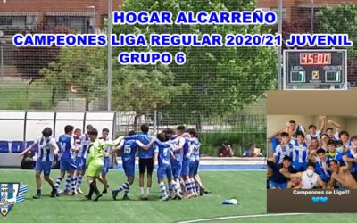 HOGAR ALCARREÑO JUVENIL «A» CAMPEON DE LIGA REGULAR GRUPO 6 AL DERROTAR AL RAYO ARRIACENSE POR 7-1 .16 MAYO 2021 . PEÑA HOGAR ALCARREÑO. ALCASUM FERRYMAS